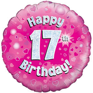 Oaktree Happy 17th Birthday Foil Balloon - Pink, 18""