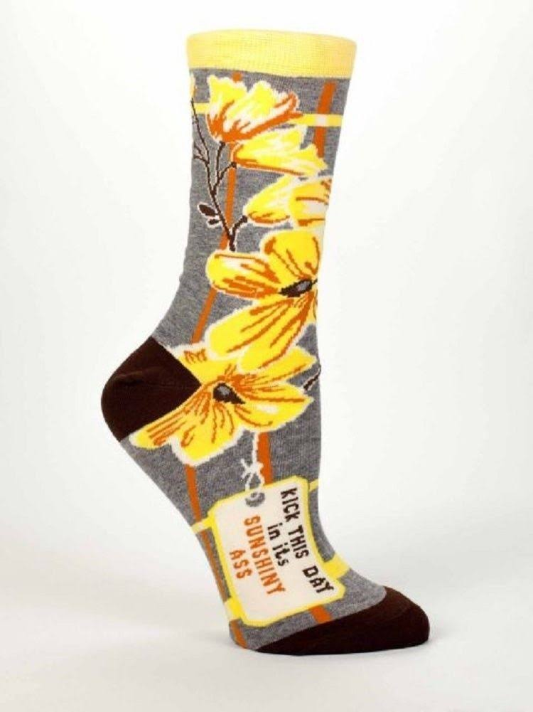 Blue Q Women's Socks Kick This Day Crew - Charcoal & Yellow