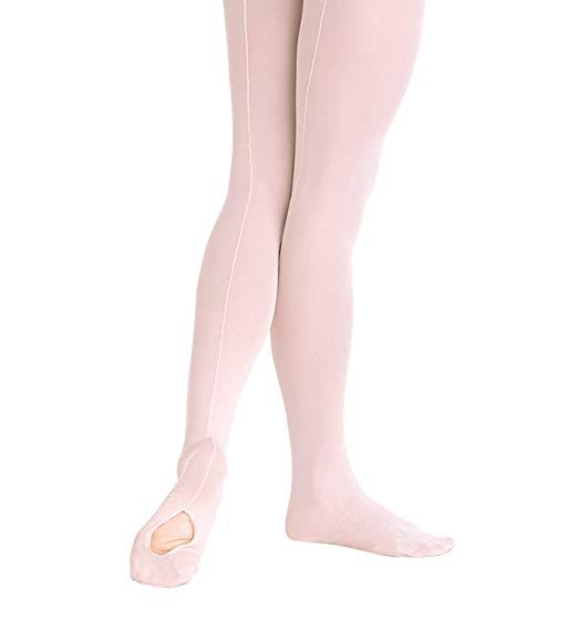 Body Wrappers Girls TotalSTRETCH Mesh Seamed Convertible Tights 4-6 / Theatrical Pink