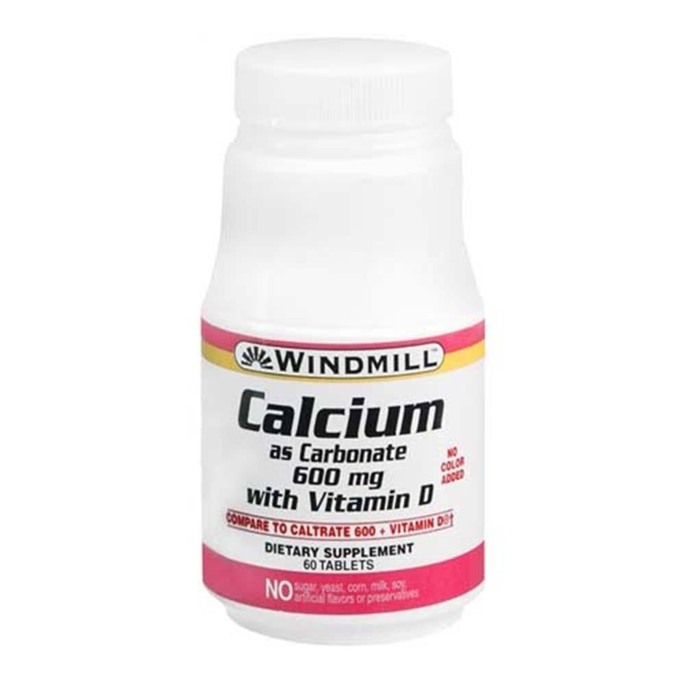Windmill Calcium as Carbonate with Vitamin D Supplement - 60 Tablets