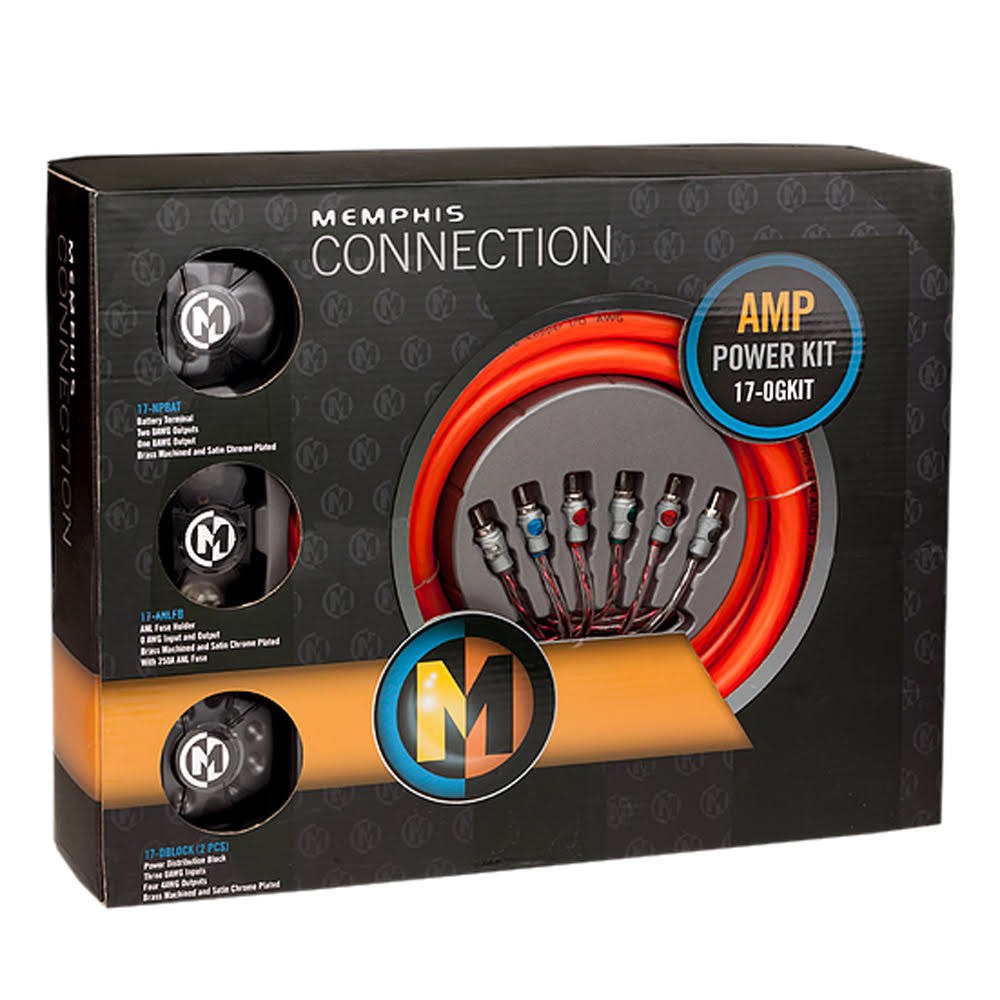 Memphis Audio 17-0GKIT True AWG 1/0 Gauge Complete Amp Kit 100% Pure Copper OFC Install Memphis 0GKIT