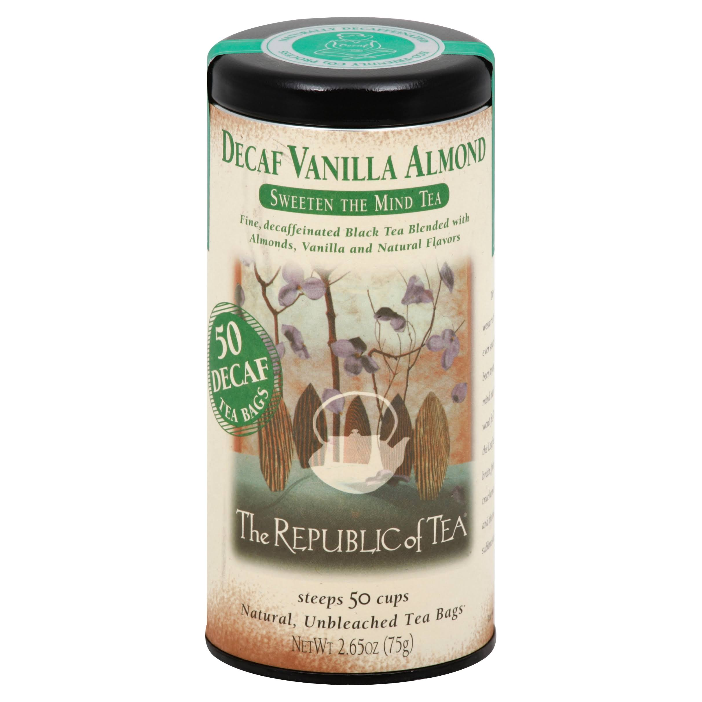 The Republic Of Tea Decaf Vanilla Almond Black Tea - 50 Tea Bags