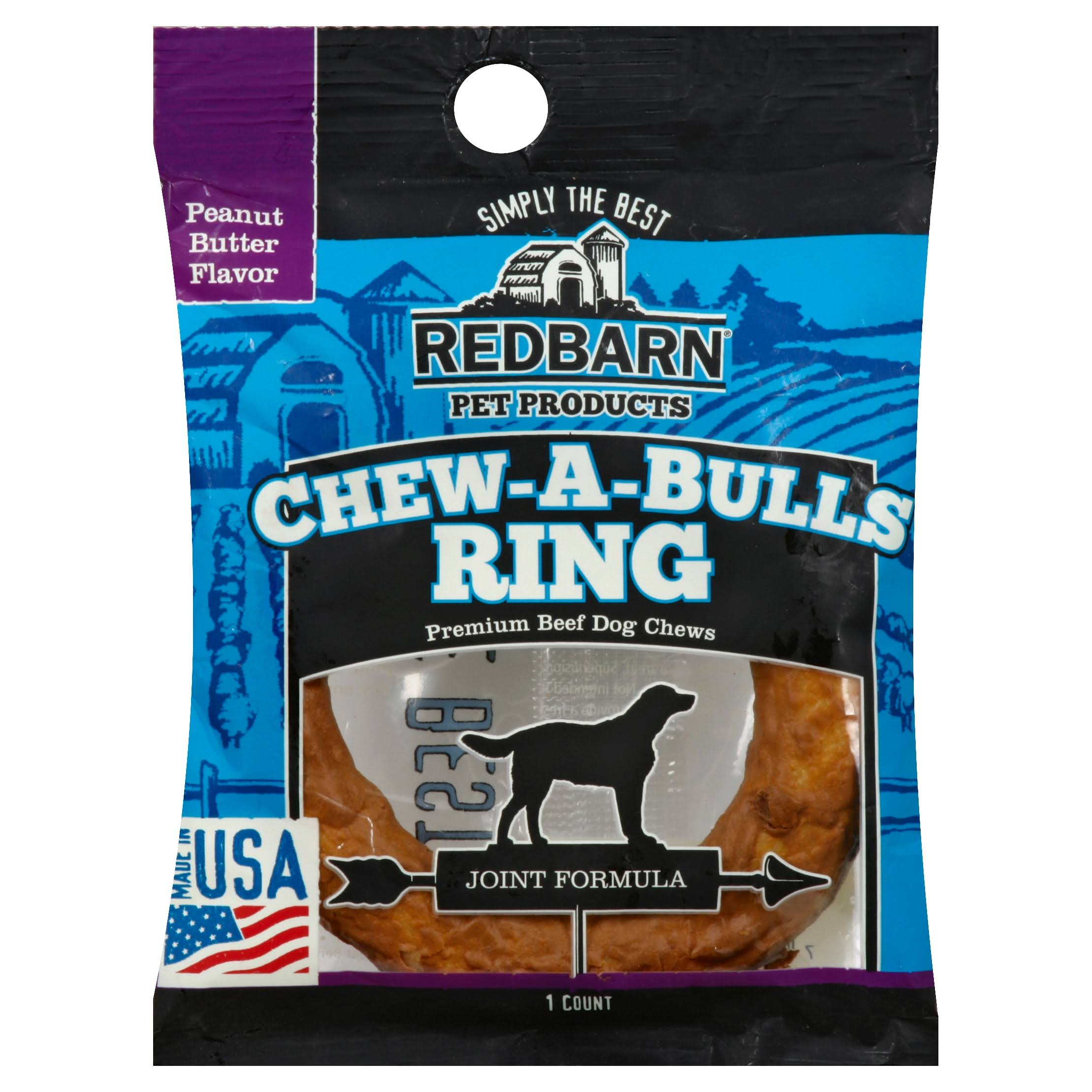 Redbarn Pet Products Chew a Bull Ring Dog Treat - Peanut Butter