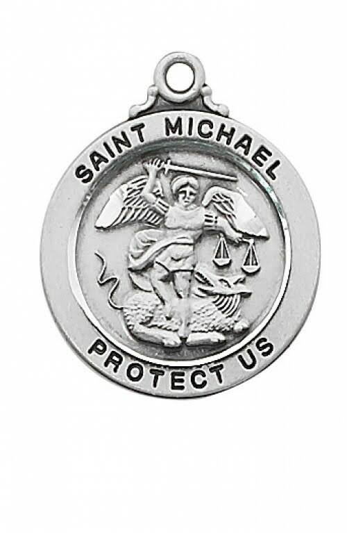 Sterling Silver Saint Michael 20 inch Necklace Chain & Box