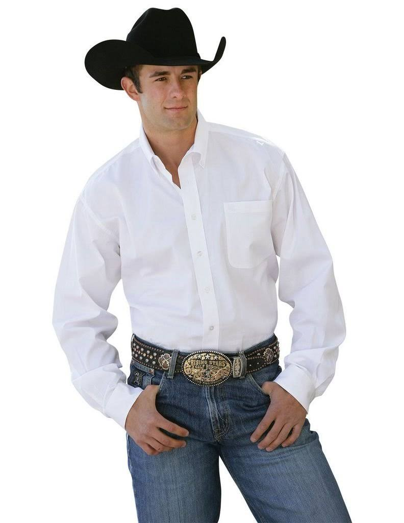 Cinch Men's Solid White Long Sleeve Western Shirt