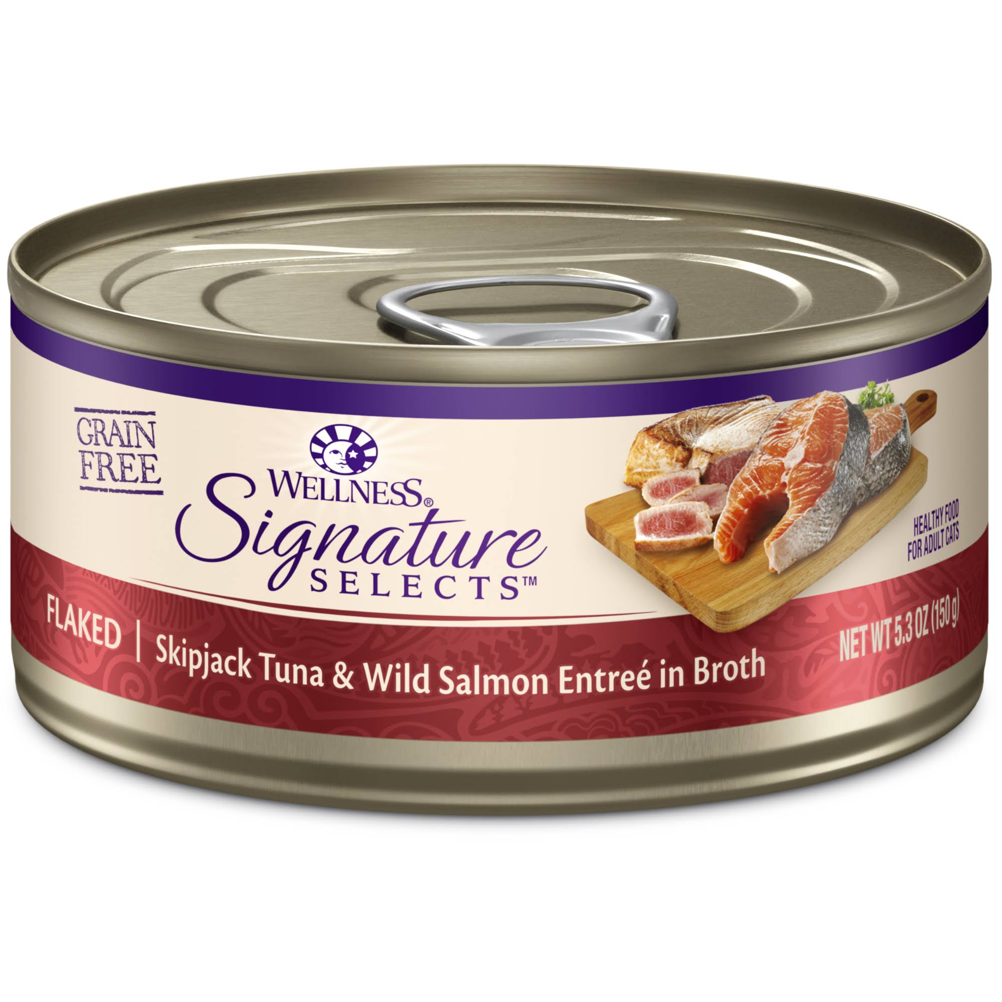 Wellness Signature Selects Grain Flaked Skipjack Tuna with Wild Salmon Entree Canned Cat Food - 5.3oz