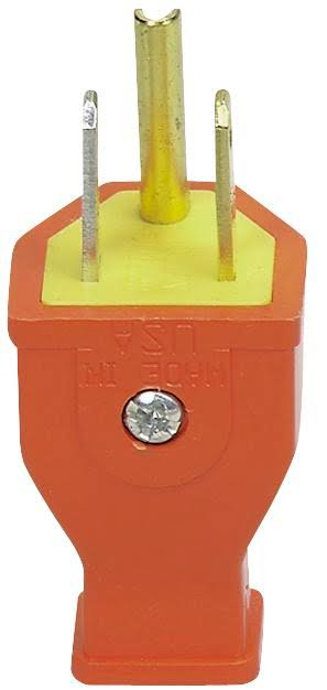 Cooper Wiring Ground Straight Plug - Orange, 15Amp