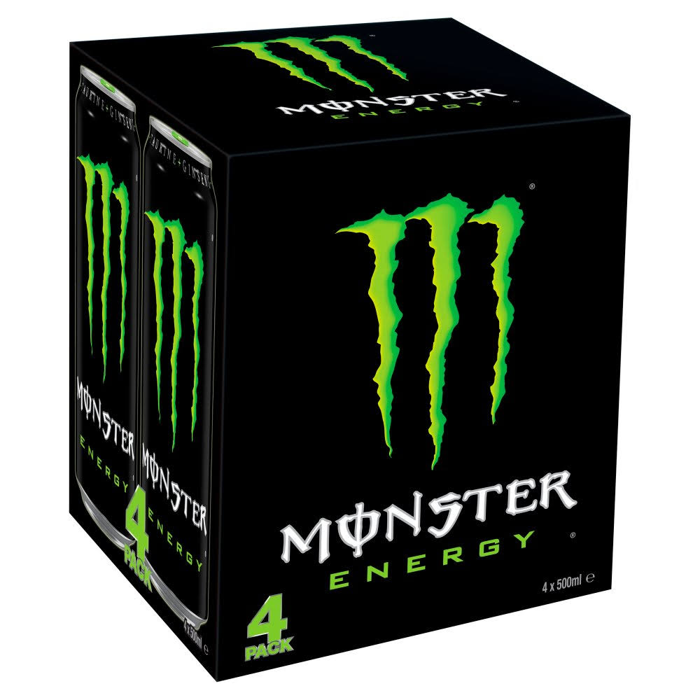 Monster Energy Drink - 4 Pack, 500ml