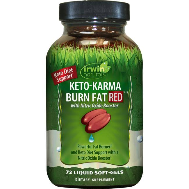 Irwin Naturals Keto-Karma Burn Fat, Red, Liquid Soft-Gels - 72 softgels