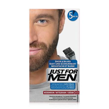Just For Men Moustache and Beard Brush In Colour Gel - M 35 Medium Brown