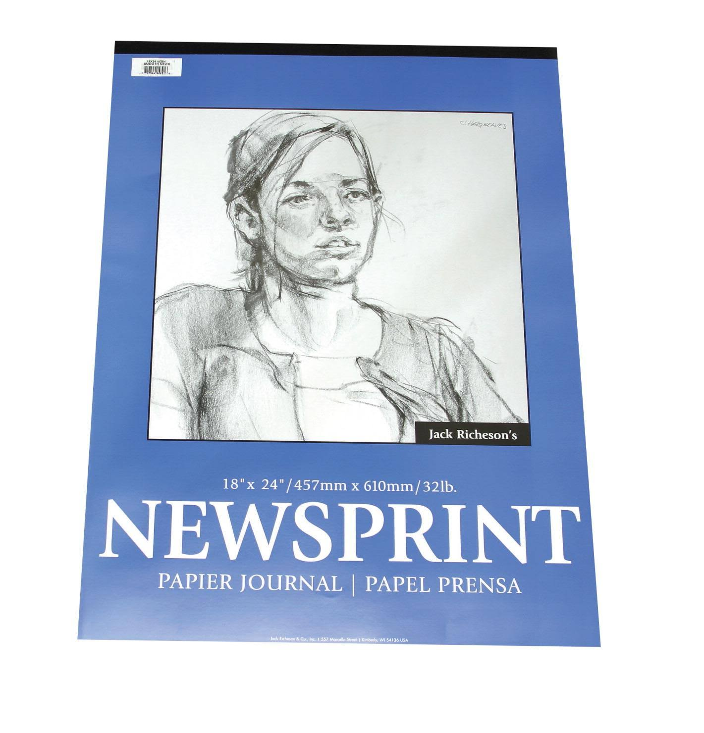 Jack Richeson Rough Newsprint Pad 32 lb 24 x 36 in 50 Sheets