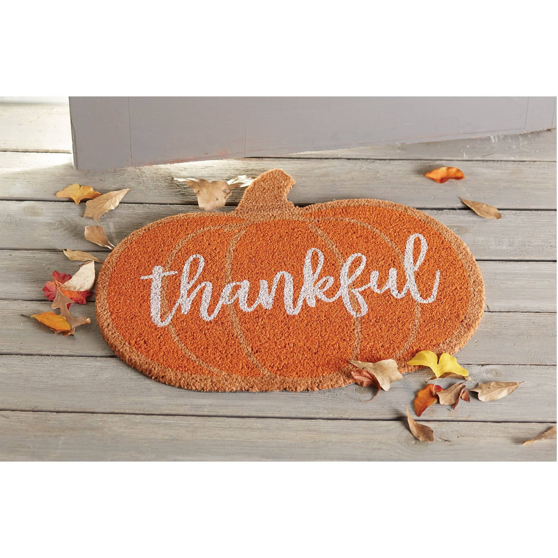 "Mud Pie H9 Thanksgiving Home Decor Floor Door Mat - Thankful Pumpkin, 25"" x 21"""