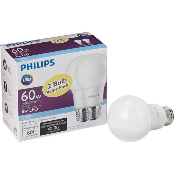 Philips A19 LED Light Bulb - 60W, x2