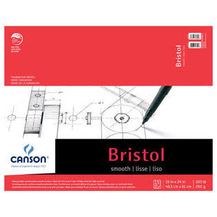 "Canson Foundation 100511016 Bristol Pads - Smooth, 19""x24"""