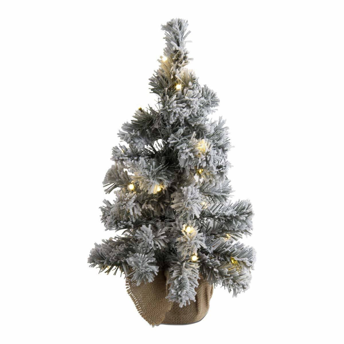 Tag Holiday Ornament Medium Snowy Evergreen LED Tree Décor One-Size