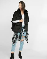 faux shearling hooded poncho express