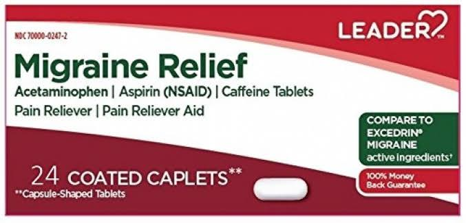 Leader Migraine Relief Coated Caplets, 24ct 096295131338S239