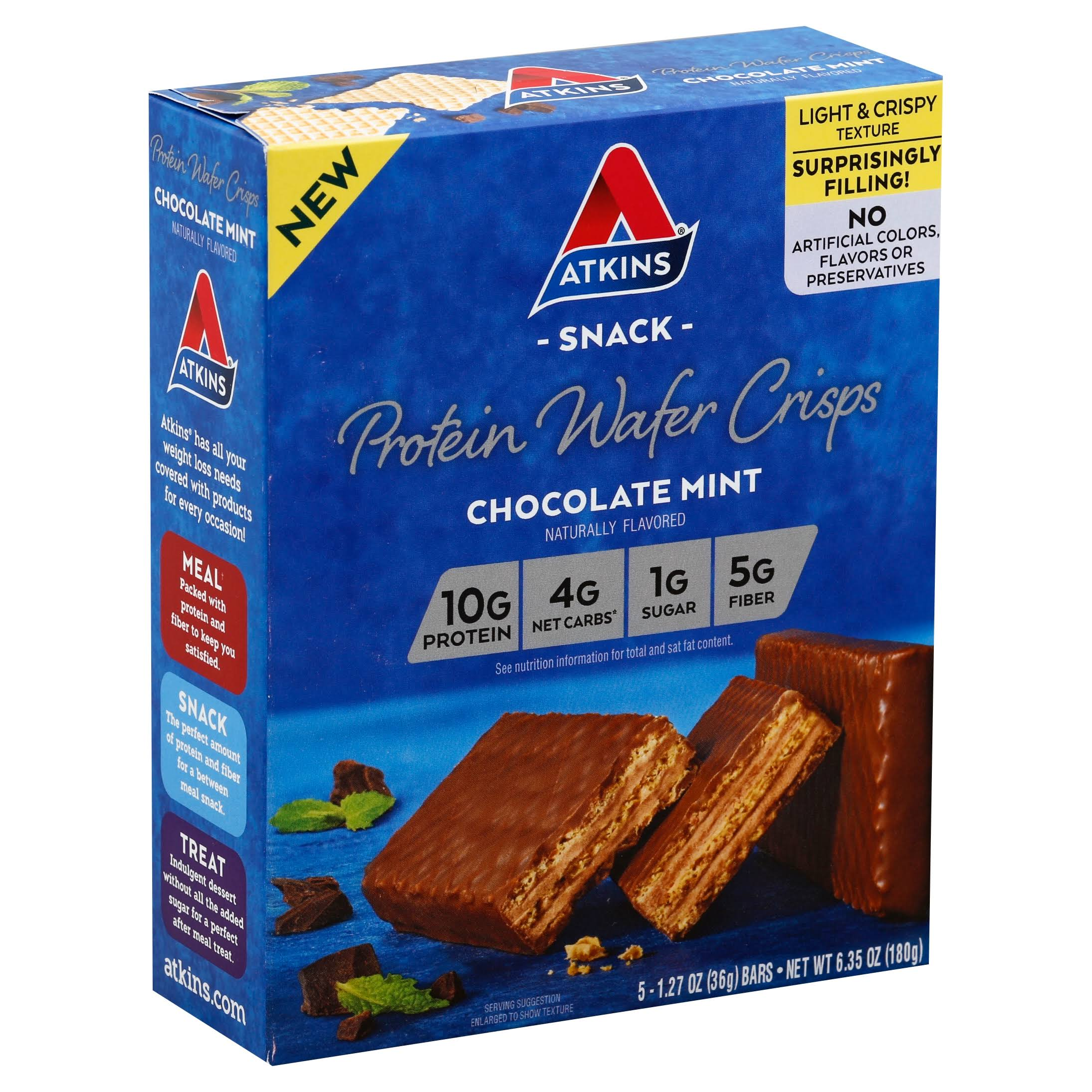 Atkins Protein Wafer Crisps - Chocolate Mint, 5 Bars, 180g
