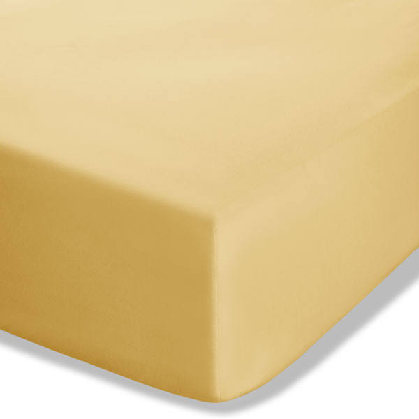 Catherine Lansfield Easy Iron Percale Fitted Sheet, Ochre, King