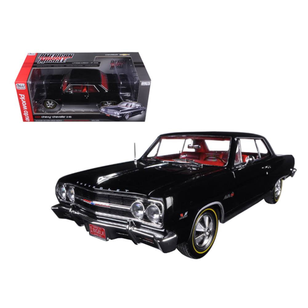 Autoworld 1965 Chevrolet Chevelle SS 396 Z-16 Black 50th Engine Anniversary Limited Edition to 1002pcs 1/18 Diecast Model Car