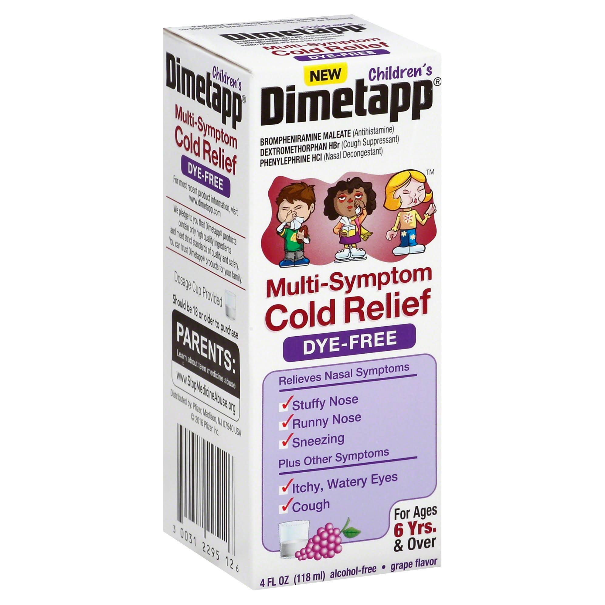 Dimetapp Children's Multi-Symptom Cold Relief Liquid - Grape Flavored, 4oz