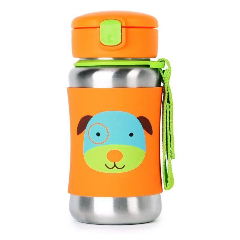 Skip Hop Zoo Stainless Steel Straw Bottle - Dog, 12oz